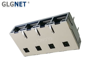 "1000 Base T RJ45 Multiple Port Connectors With 50 U"" Gold Plating Tab Up"